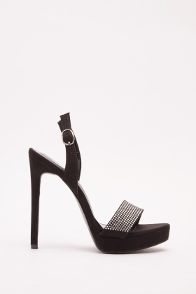 Encrusted Slingback Heeled Sandals