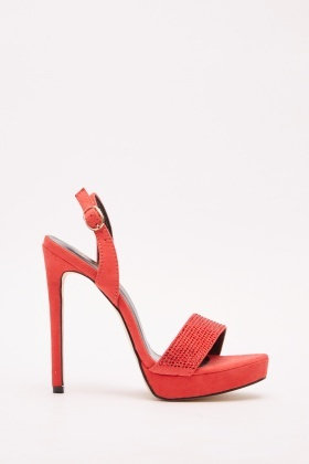Encrusted Suedette Heeled Sandals
