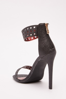 Glittered Laser Cut Heeled Sandals