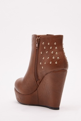 Studded Faux Leather Wedge Boots