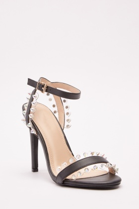 Studded Transparent Trim Heel Sandals