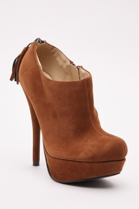 Suedette Heeled Ankle Boots