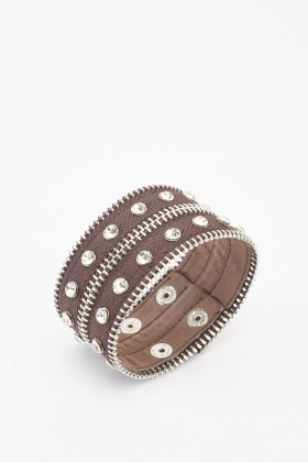 Zipped Studded Cuff Bracelet