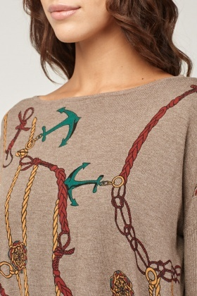 Anchor Detail Fine Knit Jumper