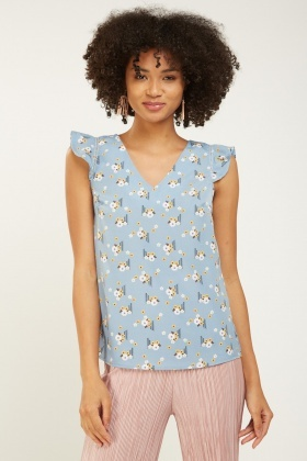 Calico Printed Ruffle Trim Top
