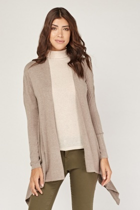 Detailed Back Knit Draped Cardigan
