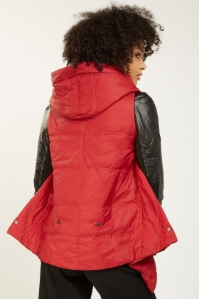 Faux Leather Sleeve Contrast Hooded Jacket