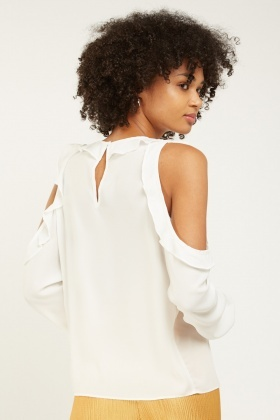Ruffle Cold Shoulder Blouse