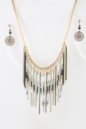 Chained Fringed Necklace And Earrings Set