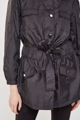 Collarless Tie Up Waterproof Jacket