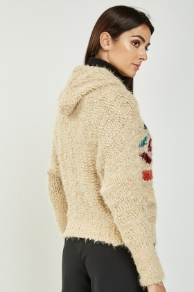 Detailed Hooded Knit Cardigan