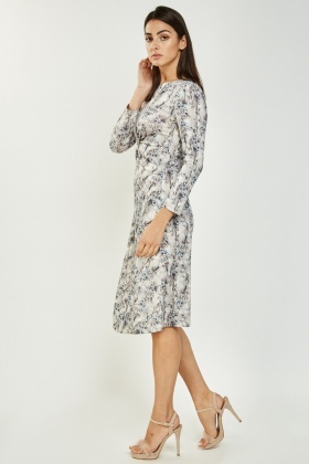 Floral Printed Midi Draped Dress