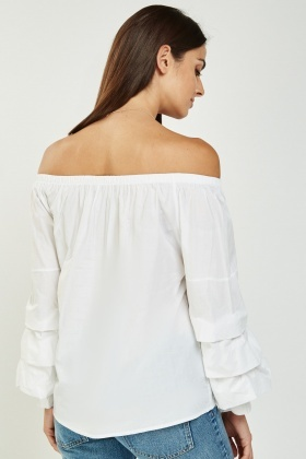 Layered Ruched Sleeve Bardot Top