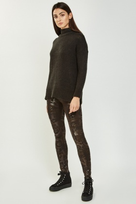 Metallic Contrasted Skinny Leggings