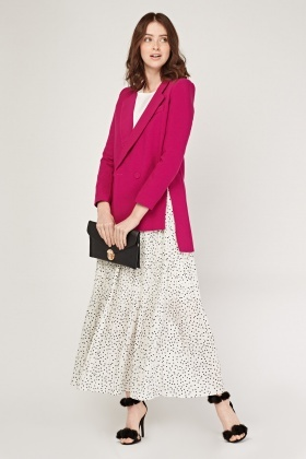 Pleated Polka Dot Maxi Skirt
