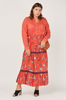 Printed Lace Trim Red Midi Skirt
