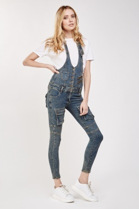 super cheap official shop price Skinny Fit Denim Dungarees