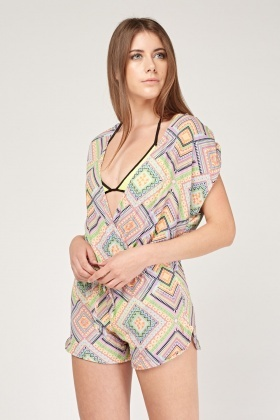 Aztec Print Wrap Playsuit