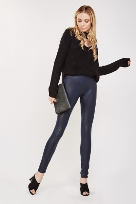 Contrasted Metallic Skinny Leggings