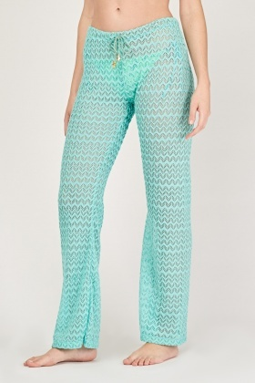 Crochet Knit Flared Trousers