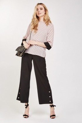 Polka Dot Sleeve Sheer Blouse