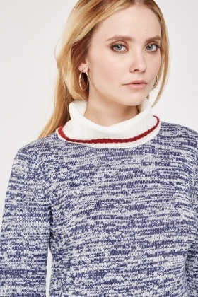 Slouchy Neck Speckled Knit Jumper