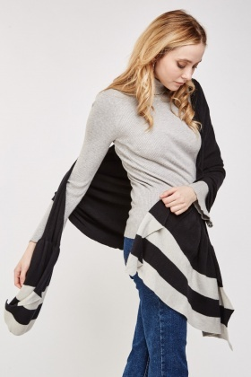 Striped Slouchy Knit Shawl