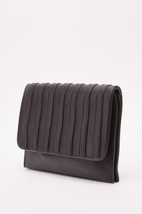Detailed Faux Leather Clutch Bag