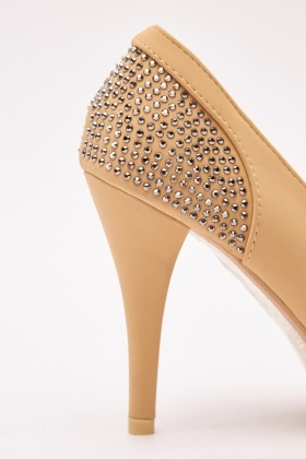 Encrusted Suedette Heeled Pumps
