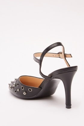 Metallic Eyelet Trim Court Heels