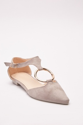 O-Ring Suedette Flats