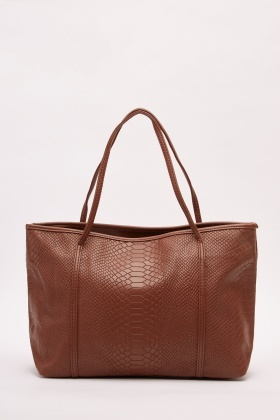 Textured Mock Croc Tote Bag