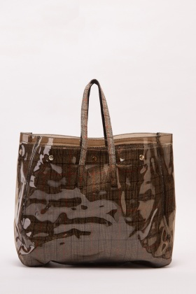 Transparent Plaid Contrast Shoppe Bag