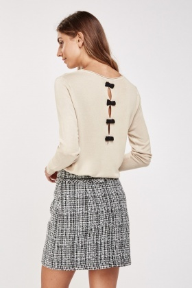Bow Trim Back Knit Sweater