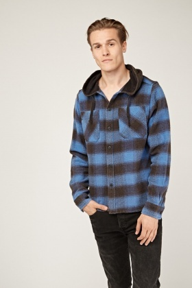 Checked Grid Hooded Overshirt