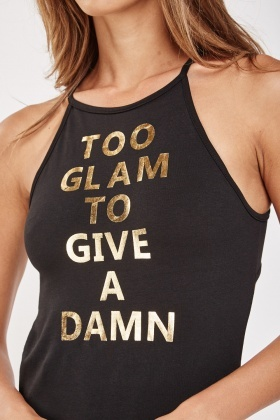 Metallic Slogan Front Bodysuit
