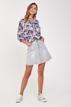 Rose Printed Sheer Blouse