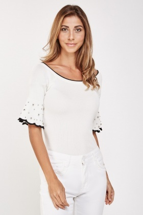 Stud Pearl Trim Knit Top