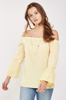 Flare Sleeve Off Shoulder Top