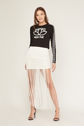 Fringe Overlay Mini Skirt