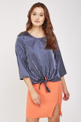 Tie Up Hem Striped Top