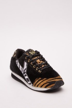 Faux Fur Tiger Lace Up Trainers