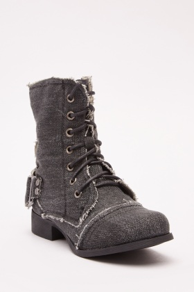 Girls Lace Up Denim Ankle Boots