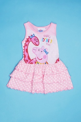 Peppa Pig Print Layered Frilled Dress