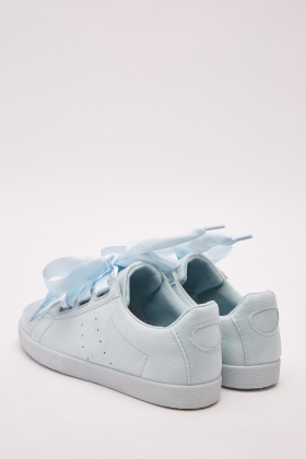 Ribbon Lace Up Suedette Plimsolls