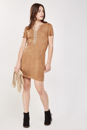 Embroidered Suedette Shift Dress