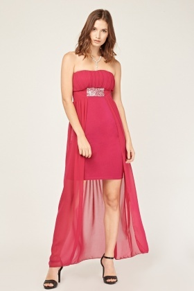 Encrusted Sheer Overlay Maxi Dress