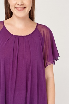 Flare Sleeve Sheer Purple Top