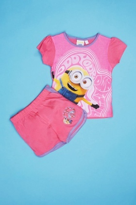 Minion Girls Top And Shorts Pyjama Set