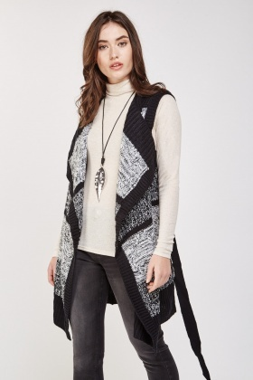 Speckled Knit Draped Cardigan